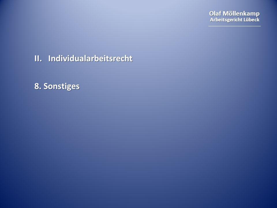 Olaf Möllenkamp Arbeitsgericht Lübeck II.Individualarbeitsrecht 8. Sonstiges