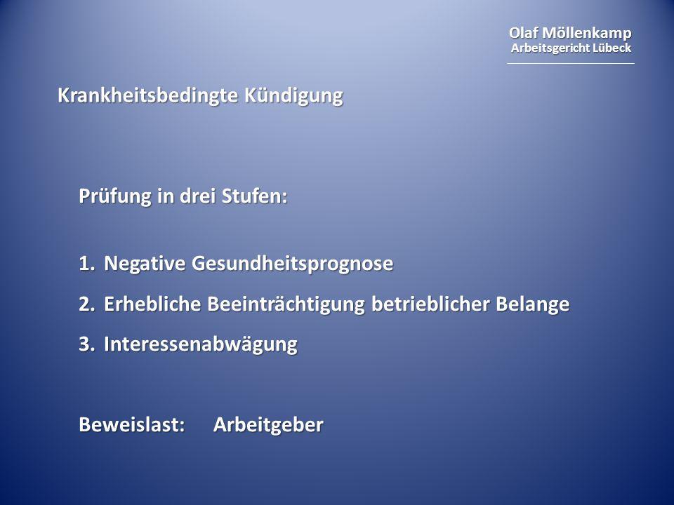 Olaf Möllenkamp Arbeitsgericht Lübeck Krankheitsbedingte Kündigung Prüfung in drei Stufen: 1.Negative Gesundheitsprognose 2.Erhebliche Beeinträchtigun