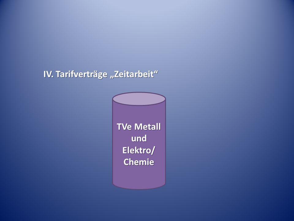 IV. Tarifverträge Zeitarbeit TVe Metall und Elektro/ Chemie