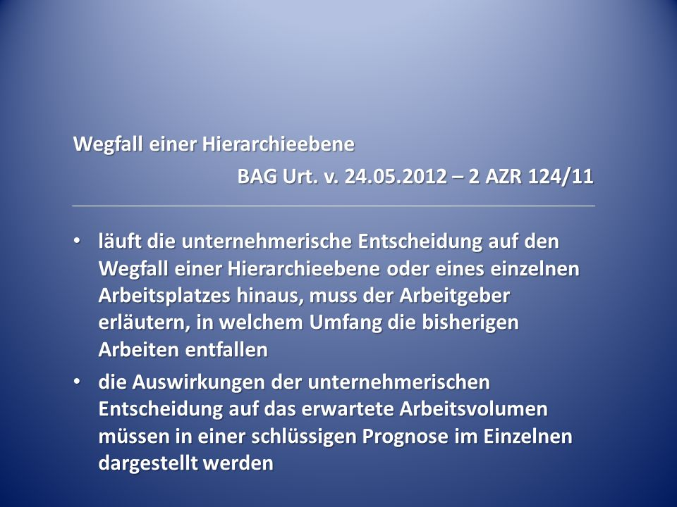 Wegfall einer Hierarchieebene BAG Urt.v.