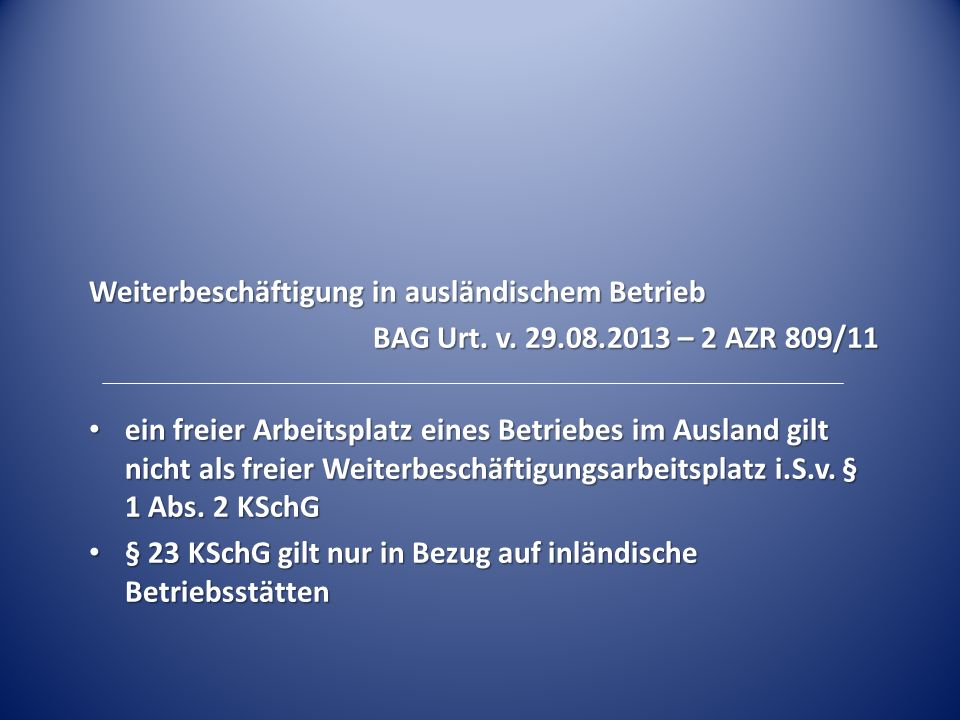 Weiterbeschäftigung in ausländischem Betrieb BAG Urt.