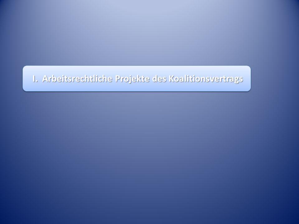 I. Arbeitsrechtliche Projekte des Koalitionsvertrags