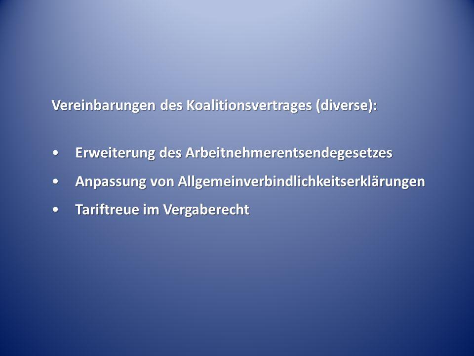 Vereinbarungen des Koalitionsvertrages (diverse): Erweiterung des ArbeitnehmerentsendegesetzesErweiterung des Arbeitnehmerentsendegesetzes Anpassung von AllgemeinverbindlichkeitserklärungenAnpassung von Allgemeinverbindlichkeitserklärungen Tariftreue im VergaberechtTariftreue im Vergaberecht