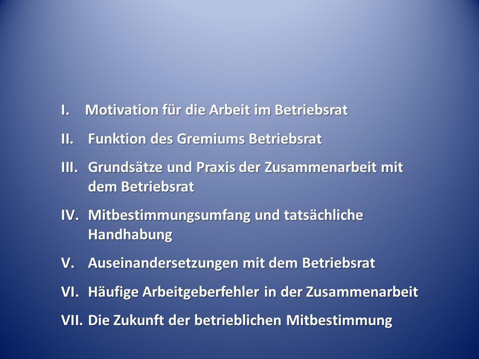 I. Motivation für die Arbeit im Betriebsrat II.Funktion des Gremiums Betriebsrat III.Grundsätze und Praxis der Zusammenarbeit mit dem Betriebsrat IV.M