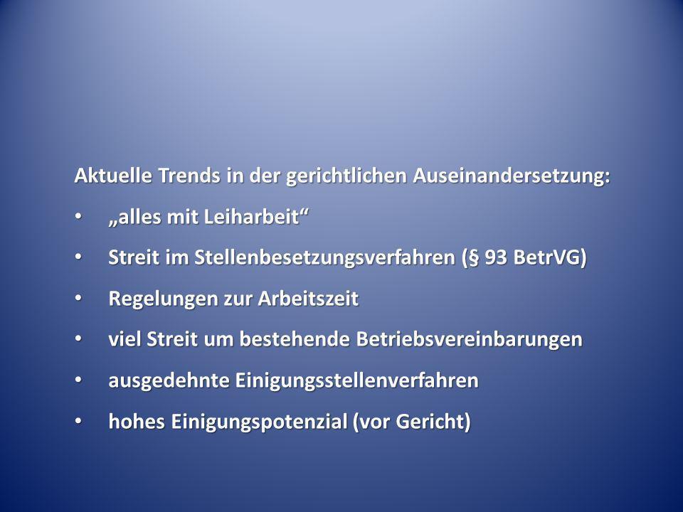 Aktuelle Trends in der gerichtlichen Auseinandersetzung: alles mit Leiharbeit alles mit Leiharbeit Streit im Stellenbesetzungsverfahren (§ 93 BetrVG)