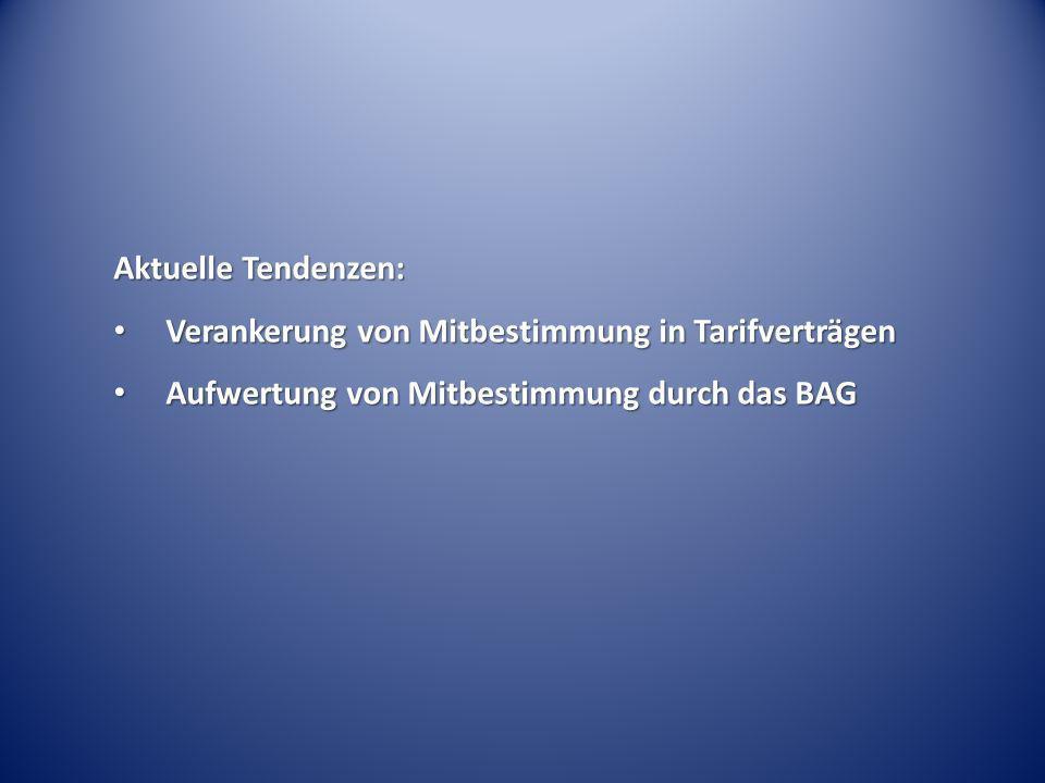 Aktuelle Tendenzen: Verankerung von Mitbestimmung in Tarifverträgen Verankerung von Mitbestimmung in Tarifverträgen Aufwertung von Mitbestimmung durch