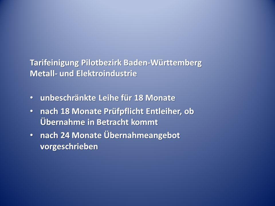 Tarifeinigung Pilotbezirk Baden-Württemberg Metall- und Elektroindustrie unbeschränkte Leihe für 18 Monate unbeschränkte Leihe für 18 Monate nach 18 Monate Prüfpflicht Entleiher, ob Übernahme in Betracht kommt nach 18 Monate Prüfpflicht Entleiher, ob Übernahme in Betracht kommt nach 24 Monate Übernahmeangebot vorgeschrieben nach 24 Monate Übernahmeangebot vorgeschrieben