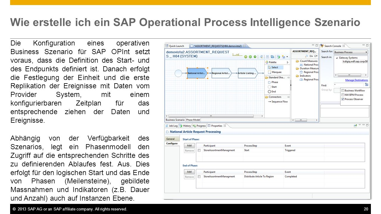 ©2013 SAP AG or an SAP affiliate company. All rights reserved.20 Wie erstelle ich ein SAP Operational Process Intelligence Szenario Die Konfiguration