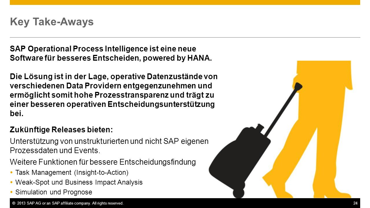 ©2013 SAP AG or an SAP affiliate company. All rights reserved.24 Key Take-Aways SAP Operational Process Intelligence ist eine neue Software für besser