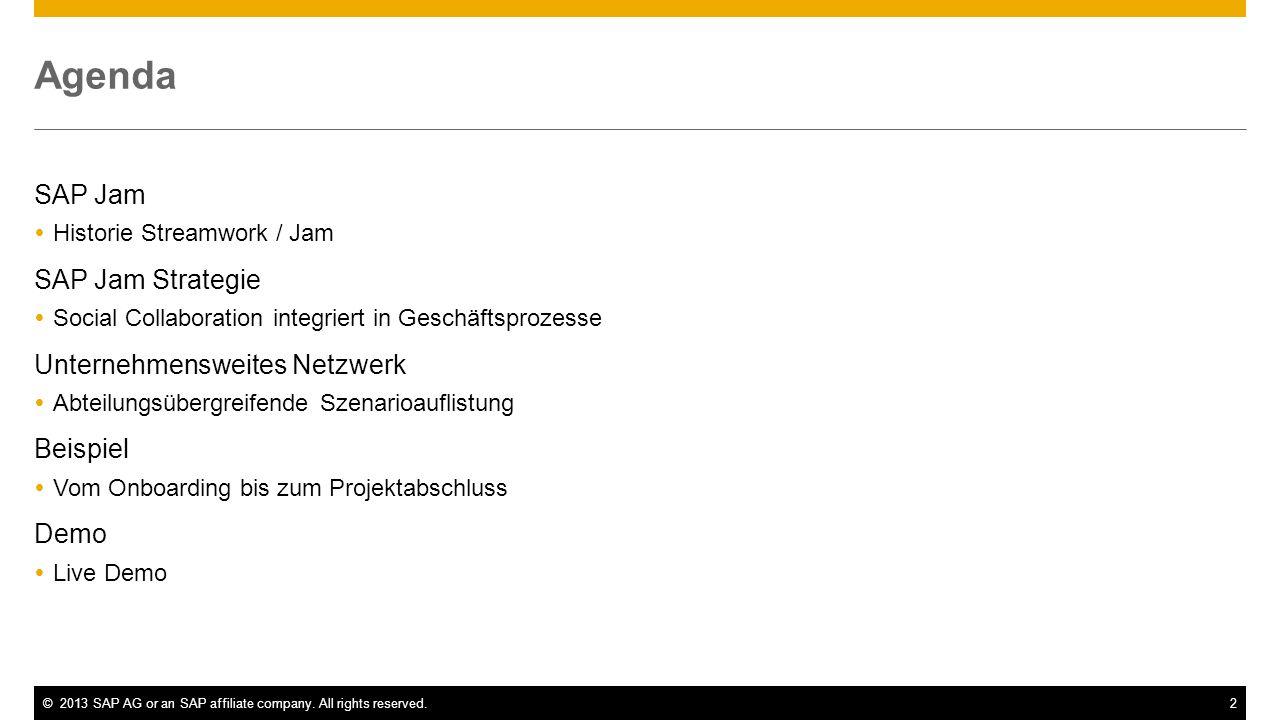 ©2013 SAP AG or an SAP affiliate company. All rights reserved.2 Agenda SAP Jam Historie Streamwork / Jam SAP Jam Strategie Social Collaboration integr