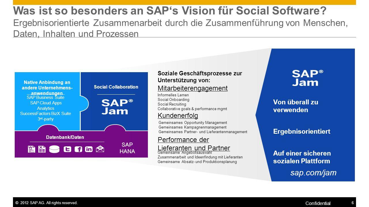 ©2012 SAP AG. All rights reserved.6 Confidential Was ist so besonders an SAPs Vision für Social Software? Ergebnisorientierte Zusammenarbeit durch die