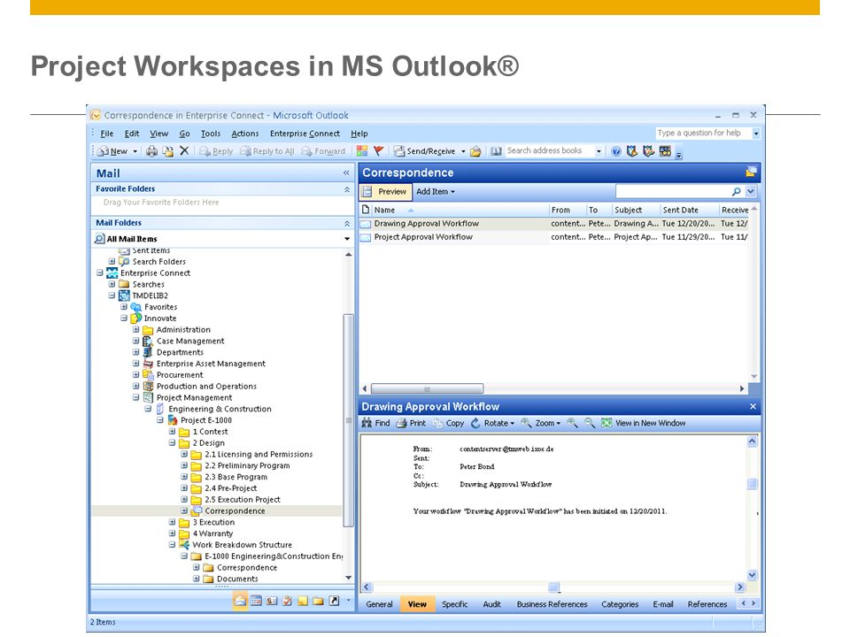 ©2013 SAP AG. All rights reserved.22 Project Workspaces in MS Outlook®