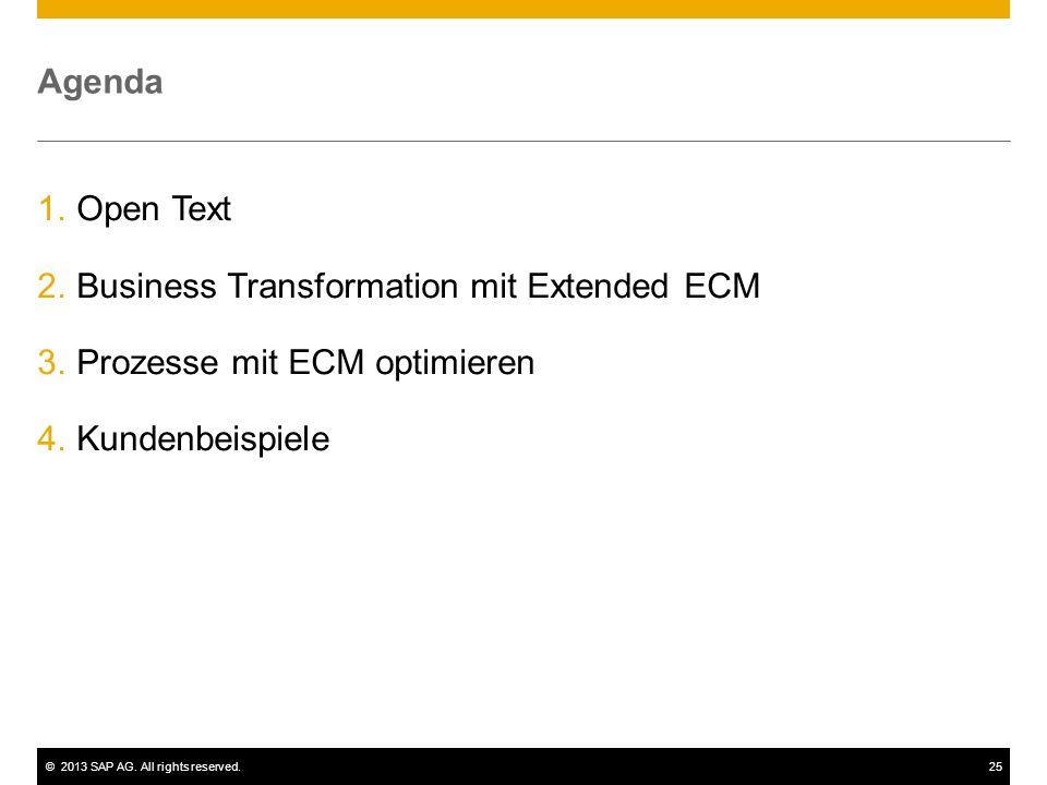 ©2013 SAP AG. All rights reserved.25 Agenda 1.Open Text 2.Business Transformation mit Extended ECM 3.Prozesse mit ECM optimieren 4.Kundenbeispiele