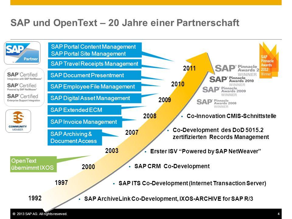 ©2013 SAP AG. All rights reserved.4 SAP und OpenText – 20 Jahre einer Partnerschaft 1992 1997 2000 SAP Extended ECM OpenText übernimmt IXOS SAP Archiv