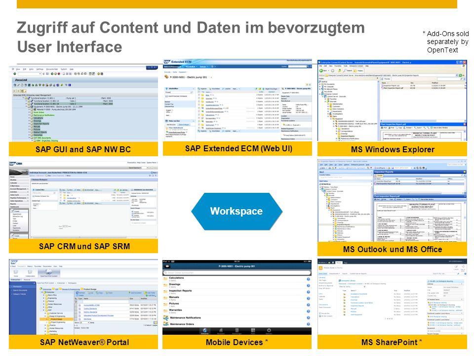 ©2013 SAP AG. All rights reserved.9 Zugriff auf Content und Daten im bevorzugtem User Interface Workspace MS SharePoint * SAP GUI and SAP NW BC SAP Ne