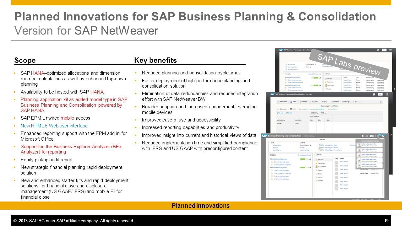 ©2013 SAP AG or an SAP affiliate company. All rights reserved.19 Key benefitsScope Planned Innovations for SAP Business Planning & Consolidation Versi