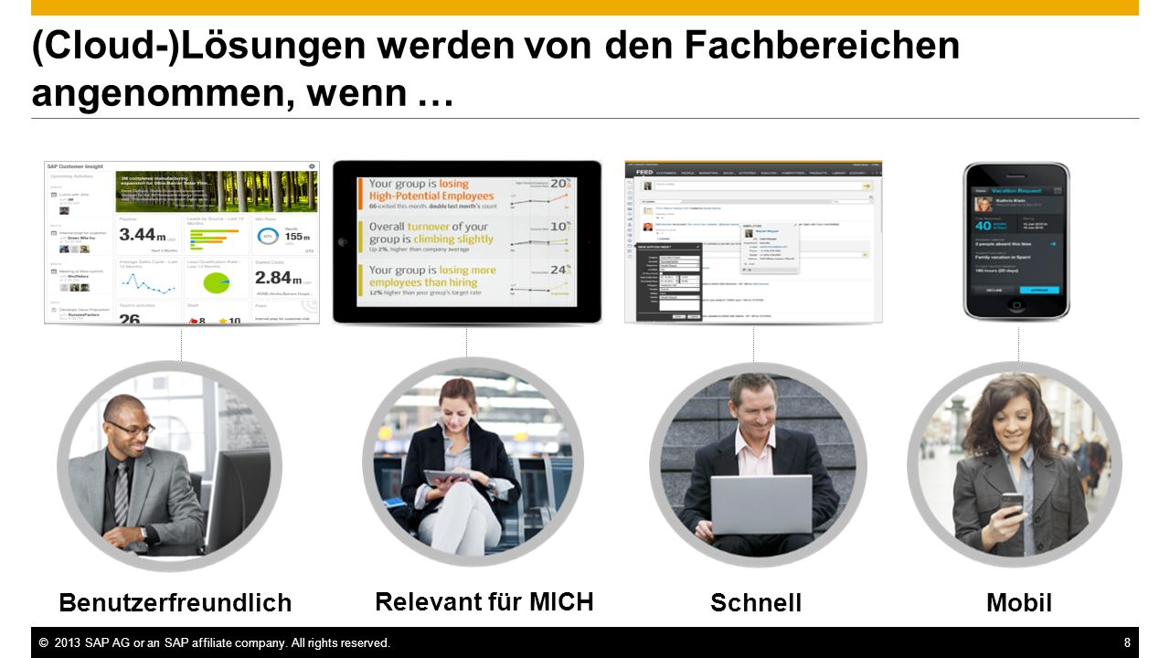 ©2013 SAP AG or an SAP affiliate company. All rights reserved.8 (Cloud-)Lösungen werden von den Fachbereichen angenommen, wenn … Relevant für MICH Ben