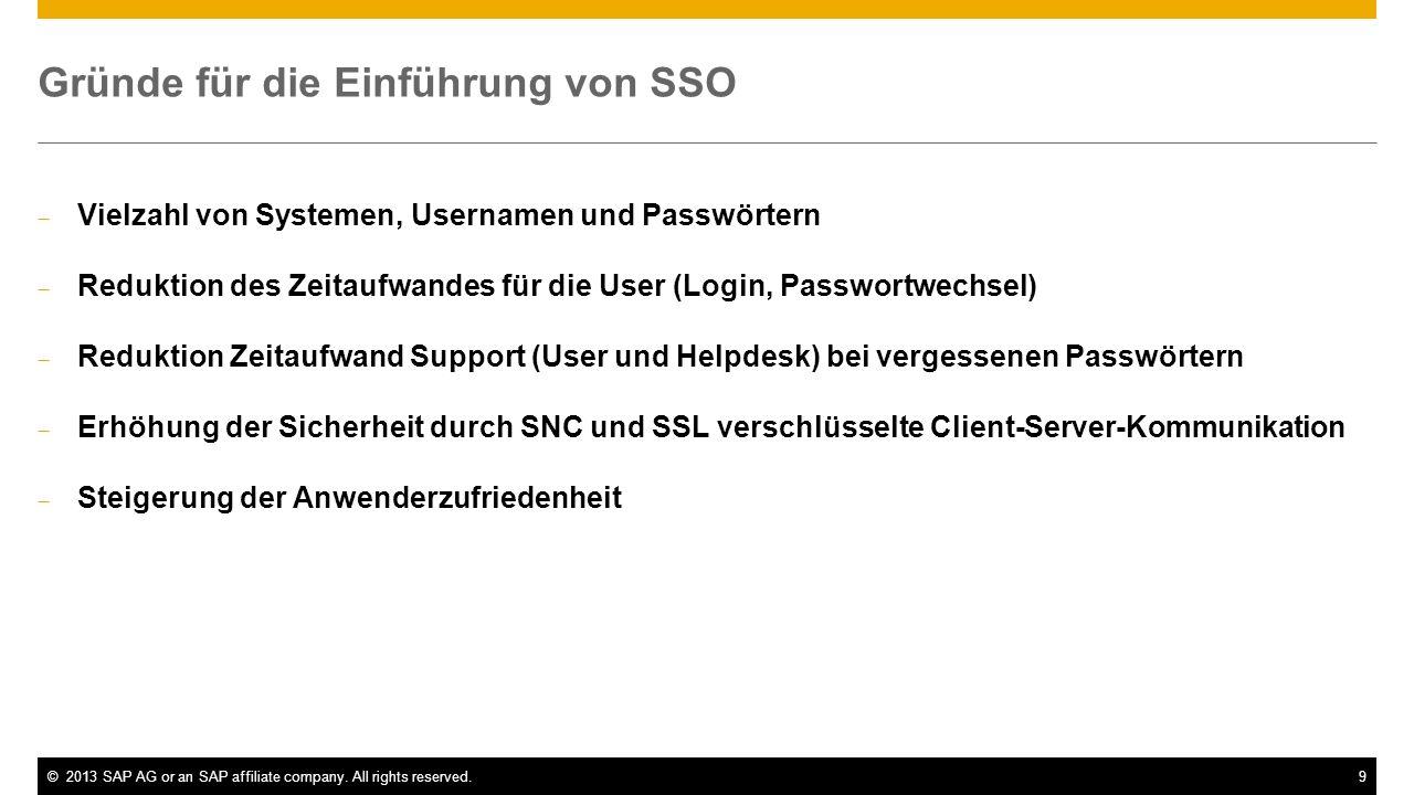 ©2013 SAP AG or an SAP affiliate company. All rights reserved.9 Gründe für die Einführung von SSO Vielzahl von Systemen, Usernamen und Passwörtern Red