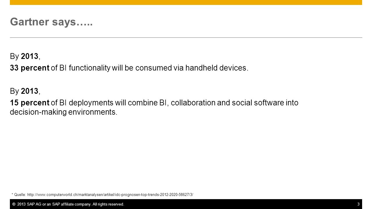 ©2013 SAP AG or an SAP affiliate company. All rights reserved.3 Gartner says….. By 2013, 33 percent of BI functionality will be consumed via handheld