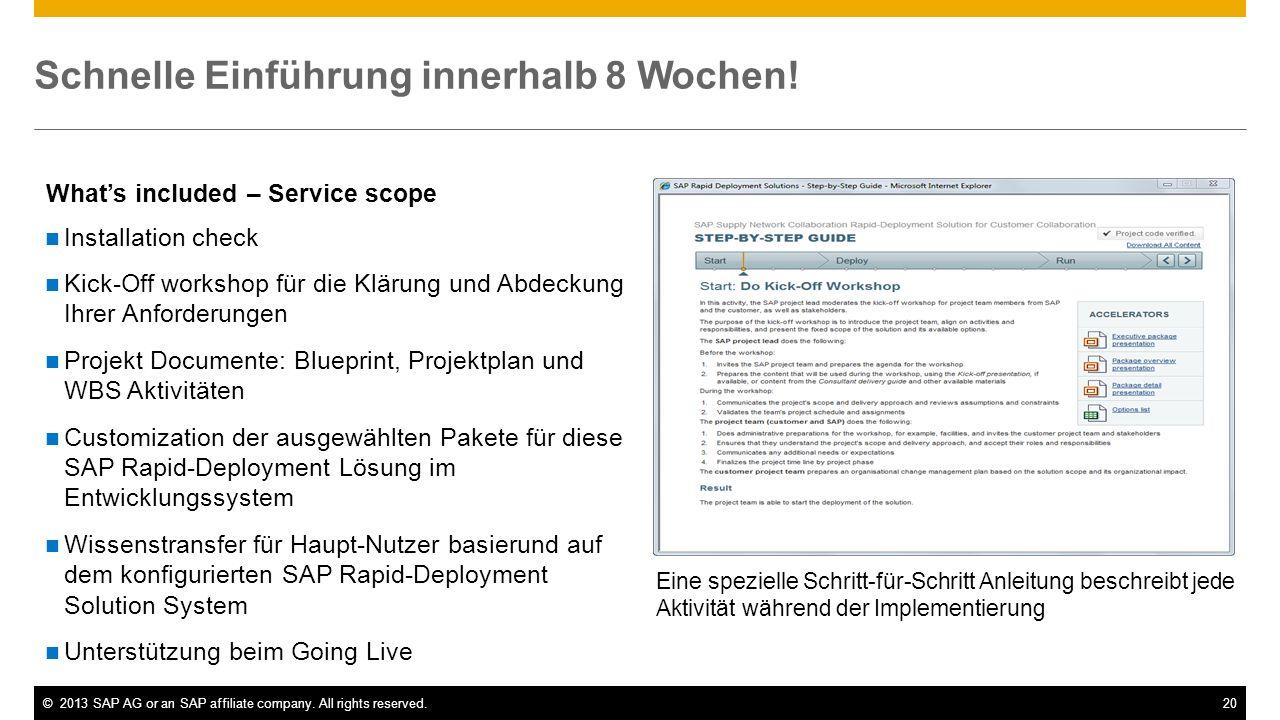 ©2013 SAP AG or an SAP affiliate company. All rights reserved.20 Whats included – Service scope Eine spezielle Schritt-für-Schritt Anleitung beschreib