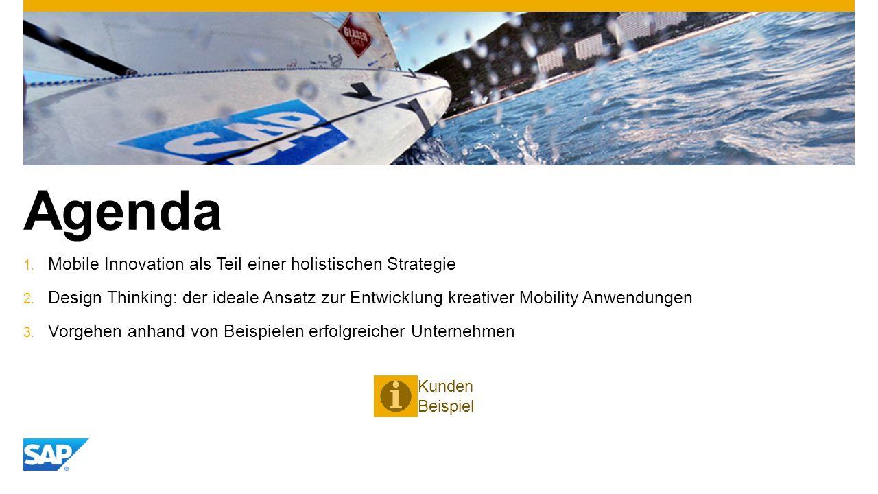 Agenda 1. Mobile Innovation als Teil einer holistischen Strategie 2. Design Thinking: der ideale Ansatz zur Entwicklung kreativer Mobility Anwendungen