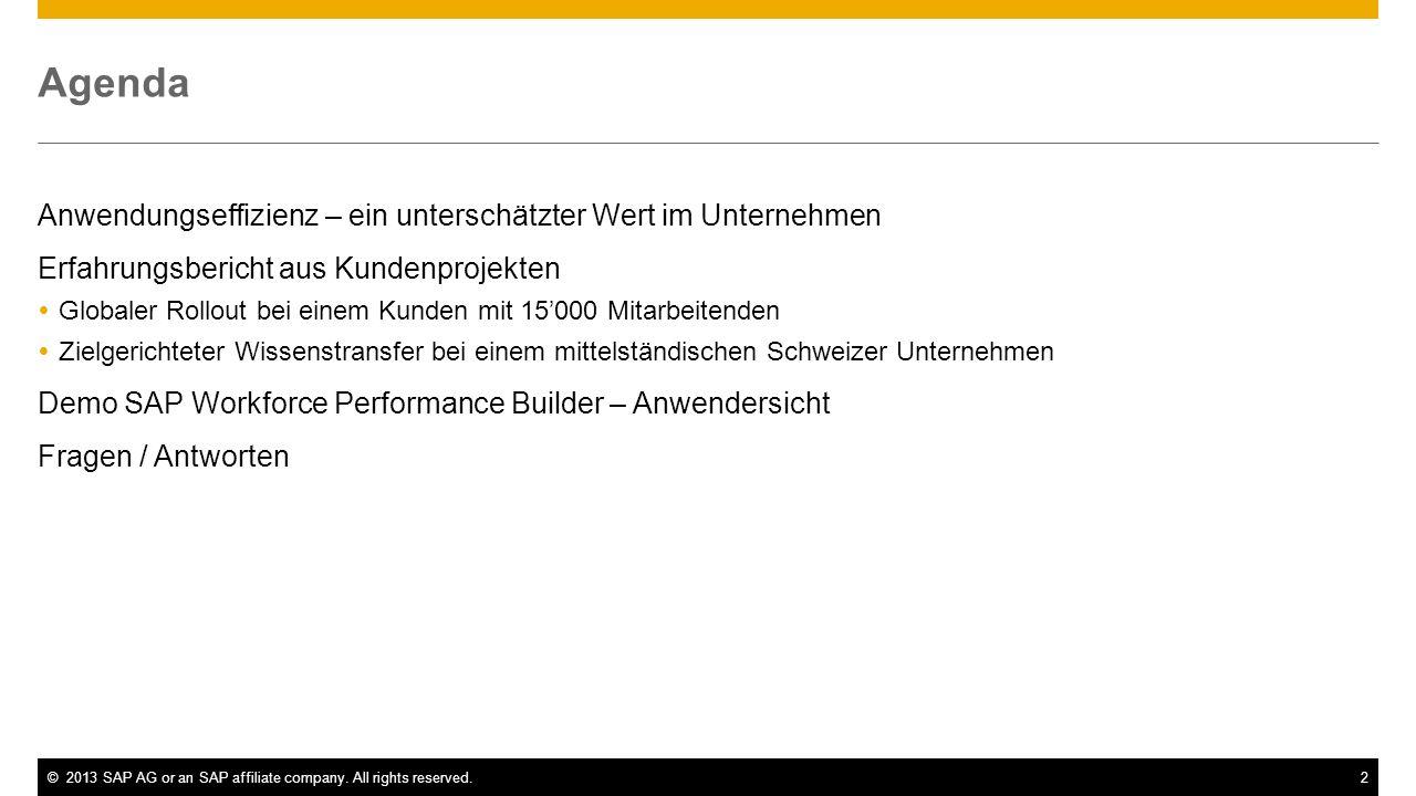 ©2013 SAP AG or an SAP affiliate company. All rights reserved.2 Agenda Anwendungseffizienz – ein unterschätzter Wert im Unternehmen Erfahrungsbericht