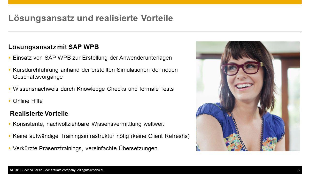 ©2013 SAP AG or an SAP affiliate company. All rights reserved.6 Lösungsansatz und realisierte Vorteile Lösungsansatz mit SAP WPB Einsatz von SAP WPB z