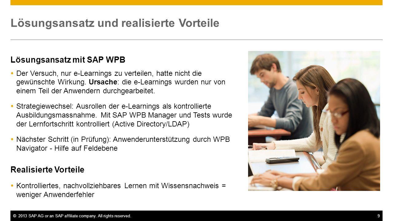 ©2013 SAP AG or an SAP affiliate company. All rights reserved.9 Lösungsansatz und realisierte Vorteile Lösungsansatz mit SAP WPB Der Versuch, nur e-Le