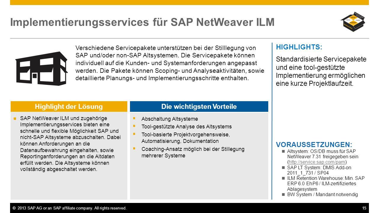 ©2013 SAP AG or an SAP affiliate company. All rights reserved.15 Implementierungsservices für SAP NetWeaver ILM Verschiedene Servicepakete unterstütze