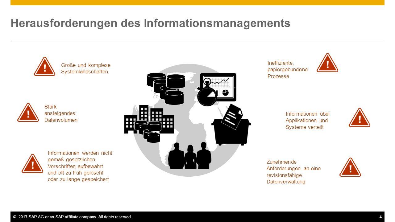 ©2013 SAP AG or an SAP affiliate company. All rights reserved.4 Herausforderungen des Informationsmanagements Stark ansteigendes Datenvolumen Informat