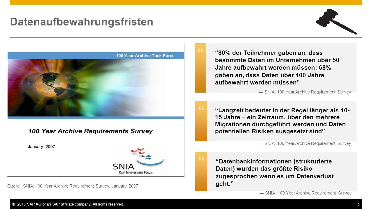 ©2013 SAP AG or an SAP affiliate company. All rights reserved.5 Langzeit bedeutet in der Regel länger als 10- 15 Jahre – ein Zeitraum, über den mehrer