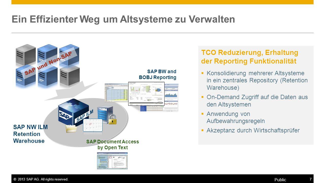©2013 SAP AG. All rights reserved.7 Public Ein Effizienter Weg um Altsysteme zu Verwalten TCO Reduzierung, Erhaltung der Reporting Funktionalität Kons