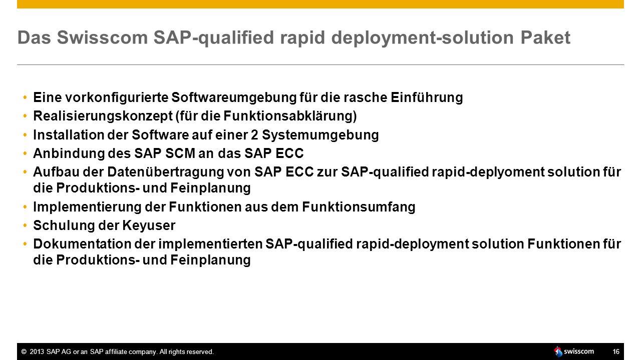 ©2013 SAP AG or an SAP affiliate company. All rights reserved.16 Das Swisscom SAP-qualified rapid deployment-solution Paket Eine vorkonfigurierte Soft