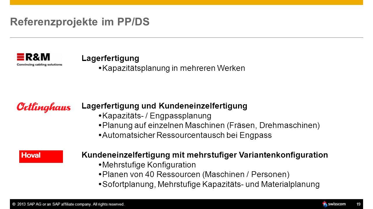 ©2013 SAP AG or an SAP affiliate company. All rights reserved.19 Referenzprojekte im PP/DS Lagerfertigung Kapazitätsplanung in mehreren Werken Lagerfe