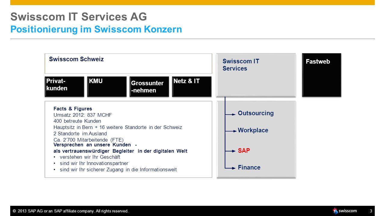 ©2013 SAP AG or an SAP affiliate company. All rights reserved.3 Swisscom IT Services AG Positionierung im Swisscom Konzern Swisscom Schweiz Privat- ku