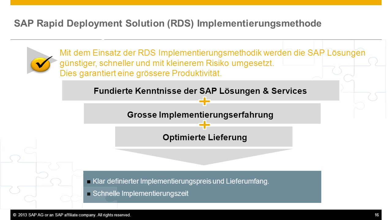 ©2013 SAP AG or an SAP affiliate company. All rights reserved.16 Klar definierter Implementierungspreis und Lieferumfang. Schnelle Implementierungszei