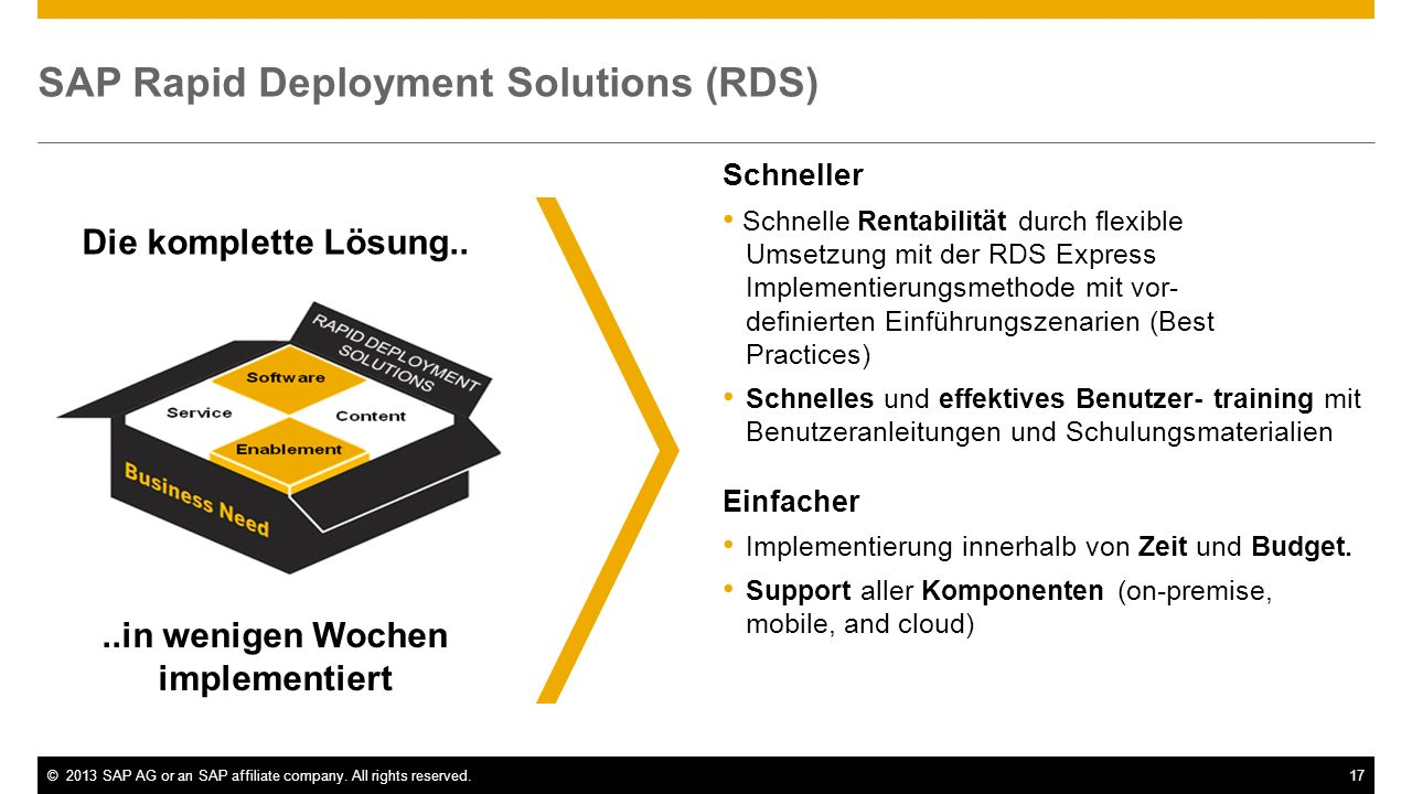 ©2013 SAP AG or an SAP affiliate company. All rights reserved.17 SAP Rapid Deployment Solutions (RDS) Schneller Schnelle Rentabilität durch flexible U