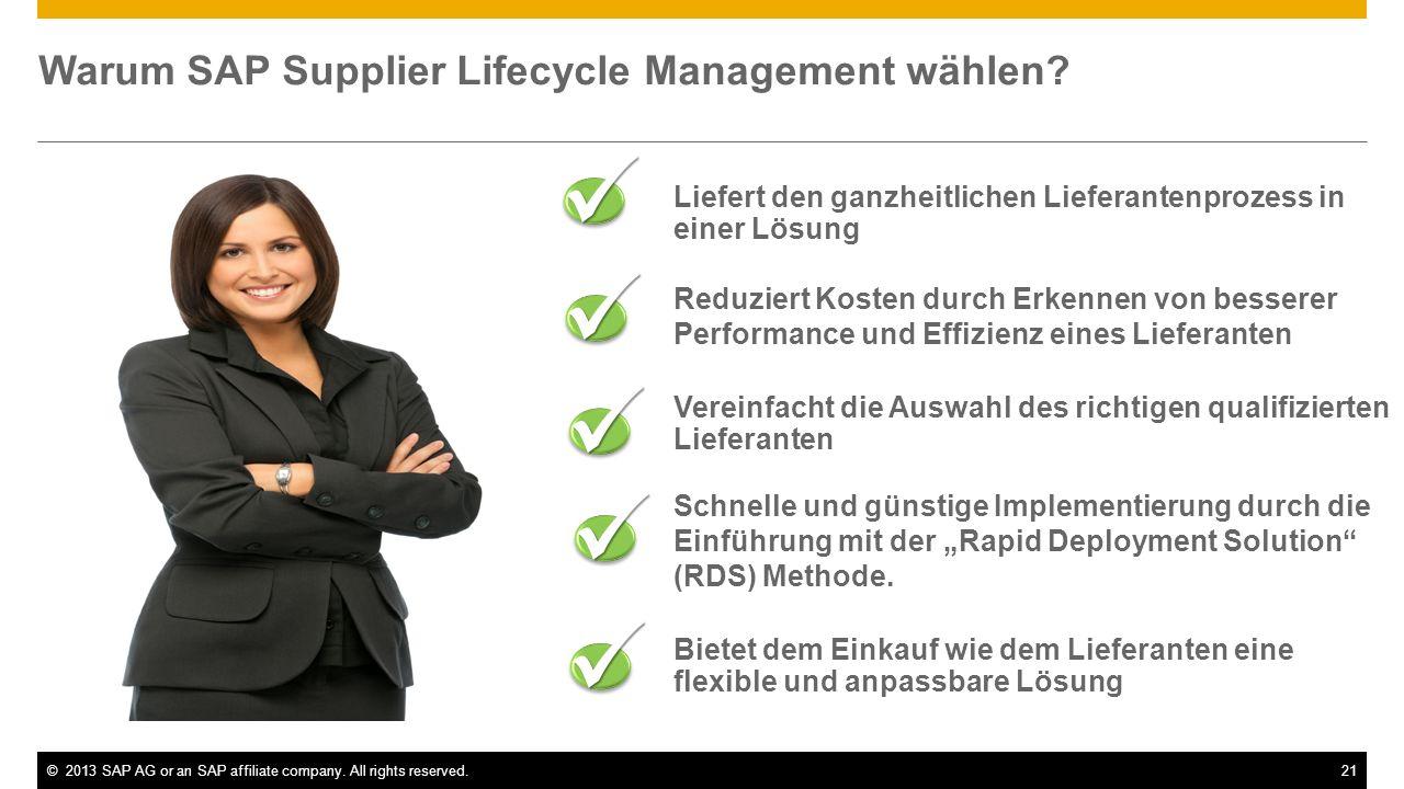 ©2013 SAP AG or an SAP affiliate company. All rights reserved.21 Liefert den ganzheitlichen Lieferantenprozess in einer Lösung Reduziert Kosten durch