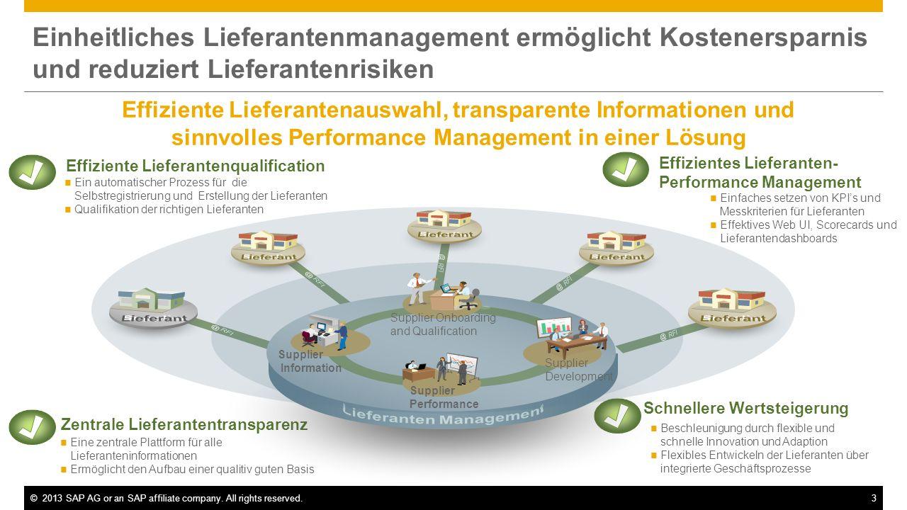 ©2013 SAP AG or an SAP affiliate company. All rights reserved.3 Einheitliches Lieferantenmanagement ermöglicht Kostenersparnis und reduziert Lieferant