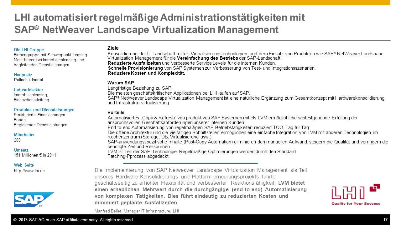 ©2013 SAP AG or an SAP affiliate company. All rights reserved.17 LHI automatisiert regelmäßige Administrationstätigkeiten mit SAP ® NetWeaver Landscap