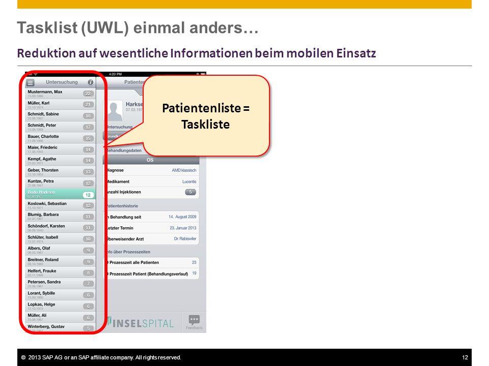 ©2013 SAP AG or an SAP affiliate company. All rights reserved.12 Patientenliste = Taskliste Tasklist (UWL) einmal anders… Reduktion auf wesentliche In