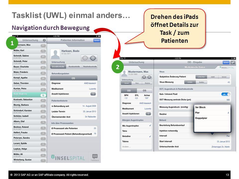 ©2013 SAP AG or an SAP affiliate company. All rights reserved.13 Drehen des iPads öffnet Details zur Task / zum Patienten 1 2 Navigation durch Bewegun