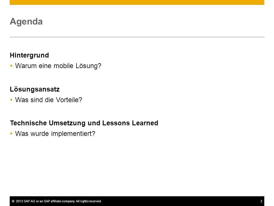 ©2013 SAP AG or an SAP affiliate company. All rights reserved.2 Agenda Hintergrund Warum eine mobile Lösung? Lösungsansatz Was sind die Vorteile? Tech