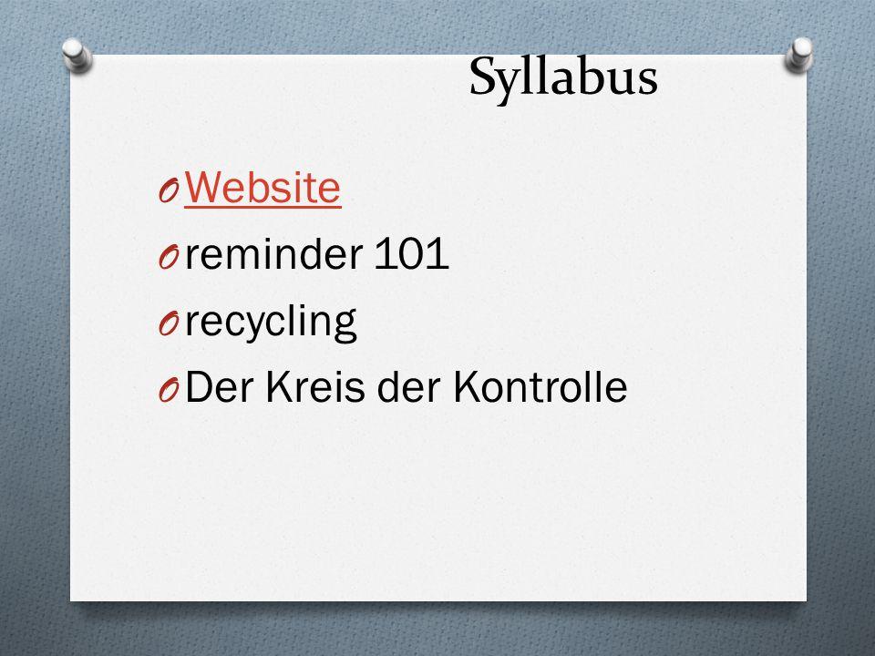 Syllabus O Website Website O reminder 101 O recycling O Der Kreis der Kontrolle