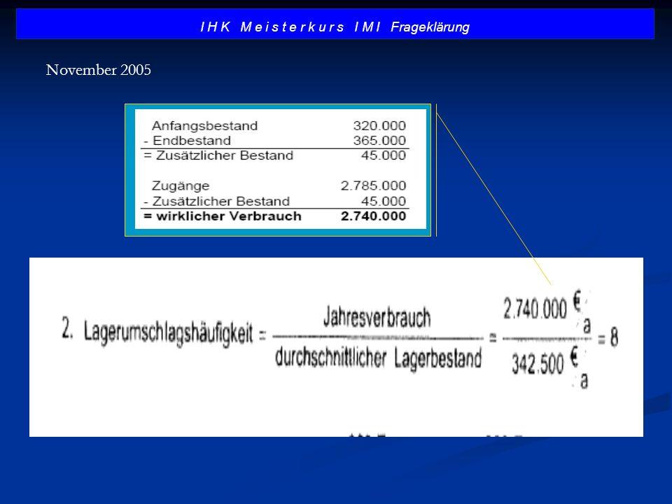 I H K M e i s t e r k u r s I M I Frageklärung November 2005
