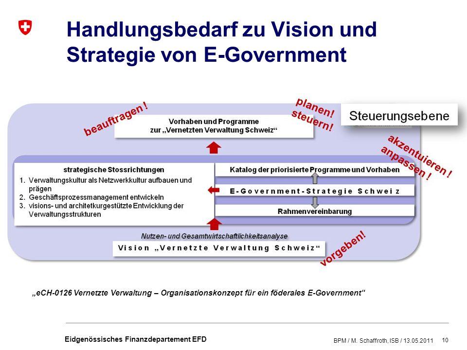 10 Eidgenössisches Finanzdepartement EFD Handlungsbedarf zu Vision und Strategie von E-Government BPM / M.