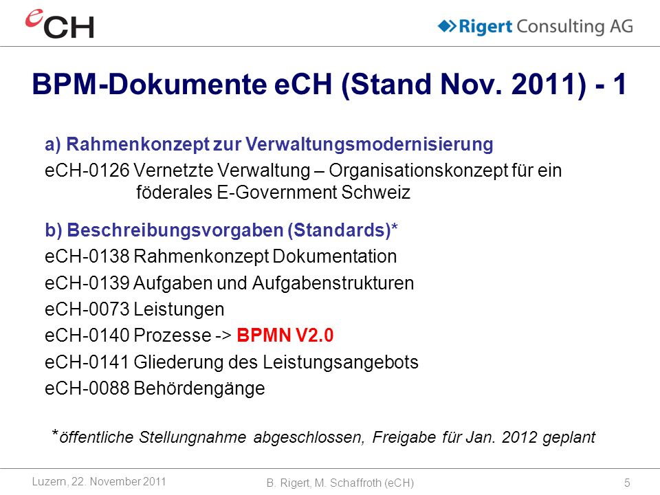 BPM-Dokumente eCH (Stand Nov.2011) - 1 B. Rigert, M.