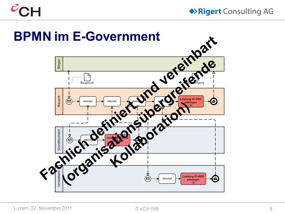 © eCH ISB9 BPMN im E-Government Luzern, 22.