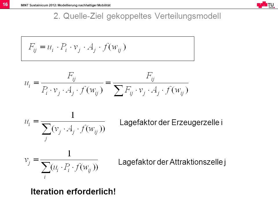 MINT Sustainicum 2012: Modellierung nachhaltiger Mobilität 16 2. Quelle-Ziel gekoppeltes Verteilungsmodell Lagefaktor der Erzeugerzelle i Lagefaktor d