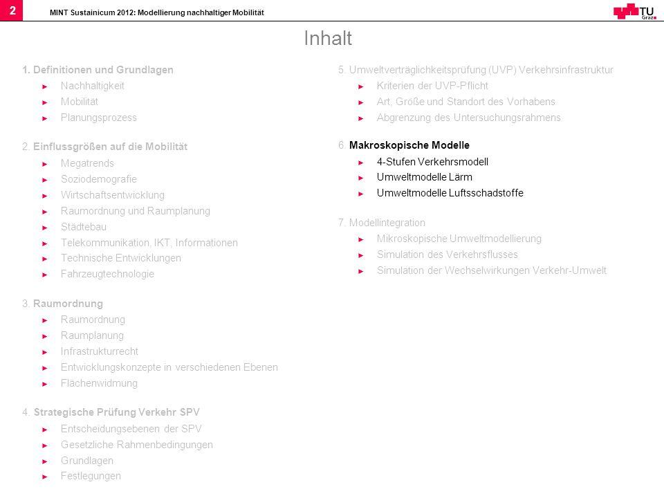 MINT Sustainicum 2012: Modellierung nachhaltiger Mobilität 2 Inhalt 1. Definitionen und Grundlagen Nachhaltigkeit Mobilität Planungsprozess 2. Einflus